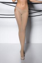 Collants ouverts TI005 - beige - Collants en voile beige opaque 60 deniers, fendu entre les jambes.