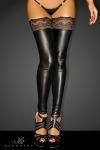 Bas wetlook Superstar : Bas wetlook sans pieds, avec une jarretière dentelle autofixante.